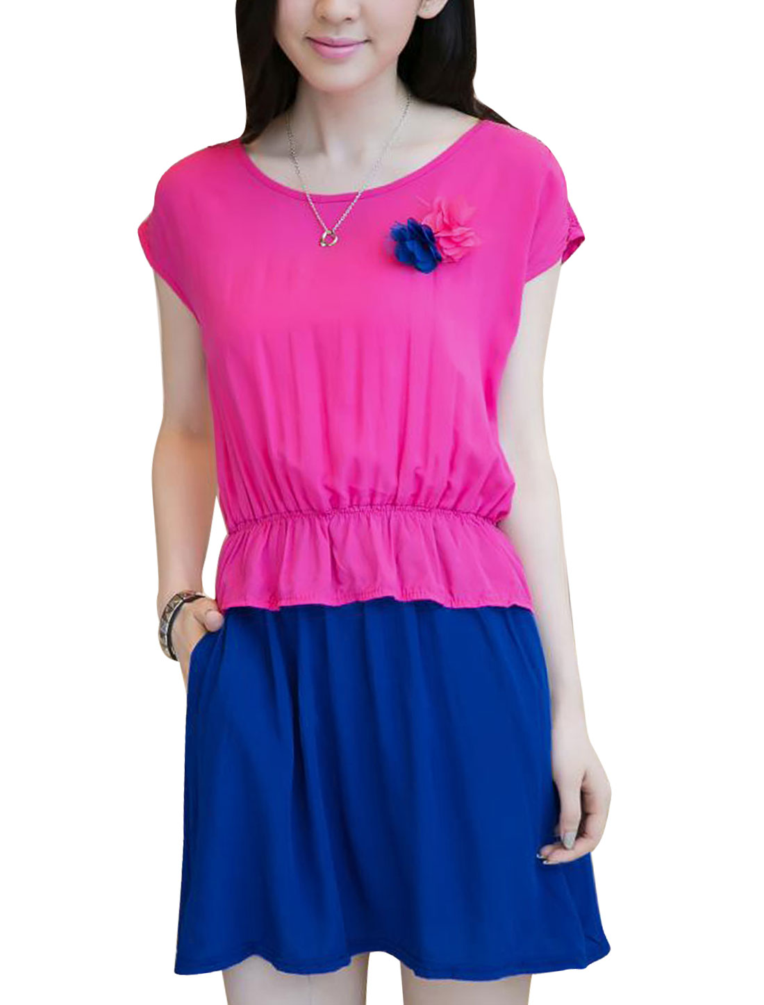 Ladies Round Neck Elastic Waist Brooch Decor Peplum Dress Fuchsia Blue XS
