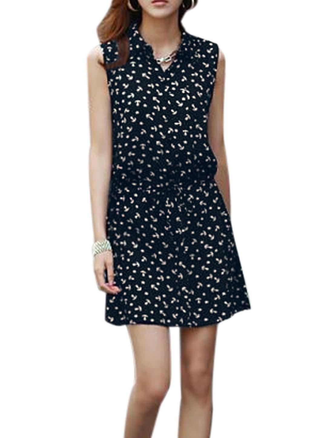 Lady Point Collar Stars Pattern Button Detail Blouson Dress Black XS