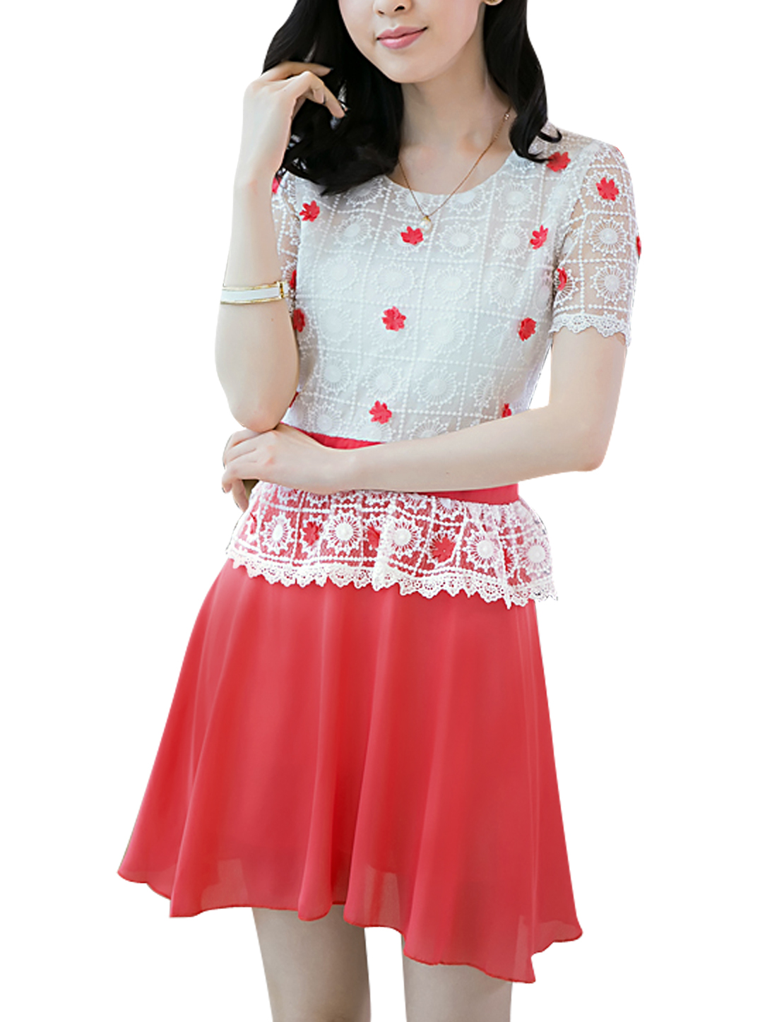Ladies Hidden Zipper Lace Panel Flower Design Peplum Dress Watermelon Pink White S