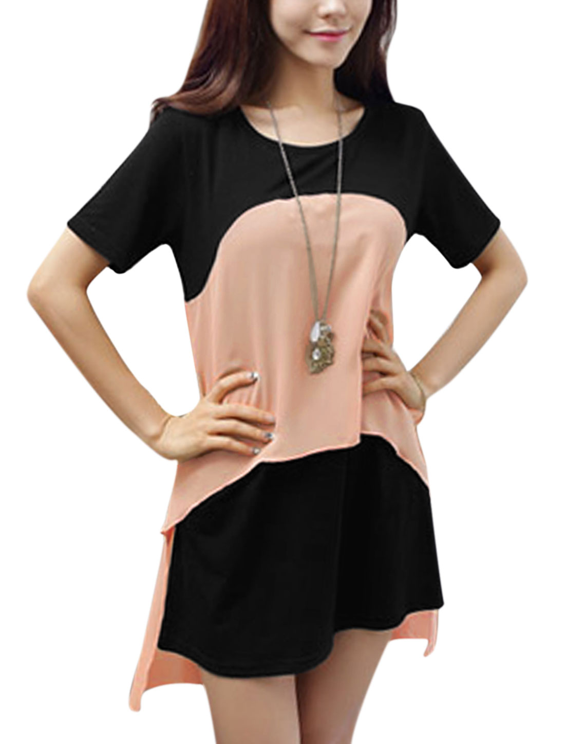 Ladies Chiffon Splicing Irregular Hem Sweet Straight Dress Light Salmon Black XS