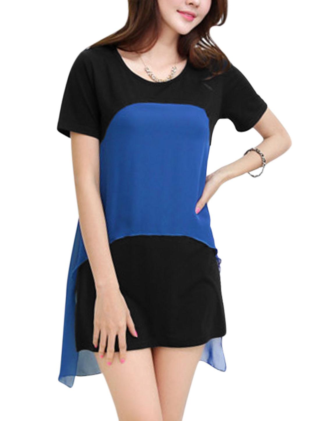 Ladies Chiffon Splicing Short Sleeve Sweet Straight Dress Royal Blue Black XS