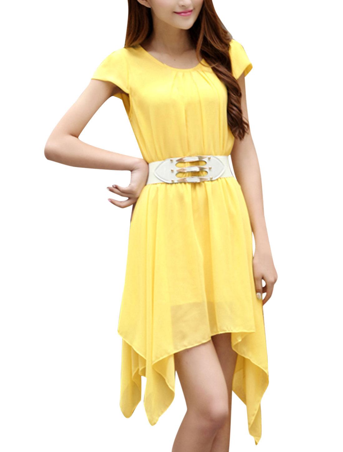 Lady Ruched Detail Elastic Waist Low High Hem Blouson Dress w Waist Belt Yellow XS