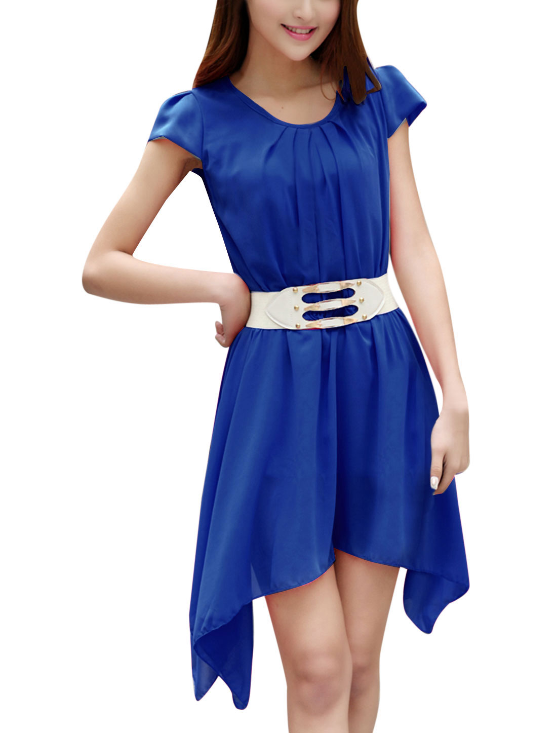 Lady Stretchy Waist Low High Hem Blouson Dress w Waist Belt Blue XS
