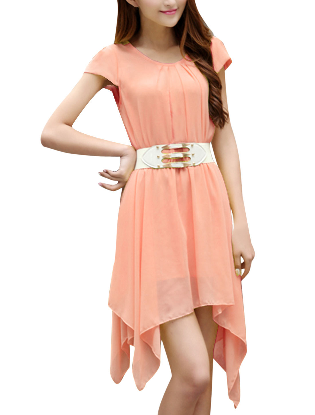 Lady Elastic Waist Low High Hem Lining Blouson Dress w Waist Belt Light Pink XS