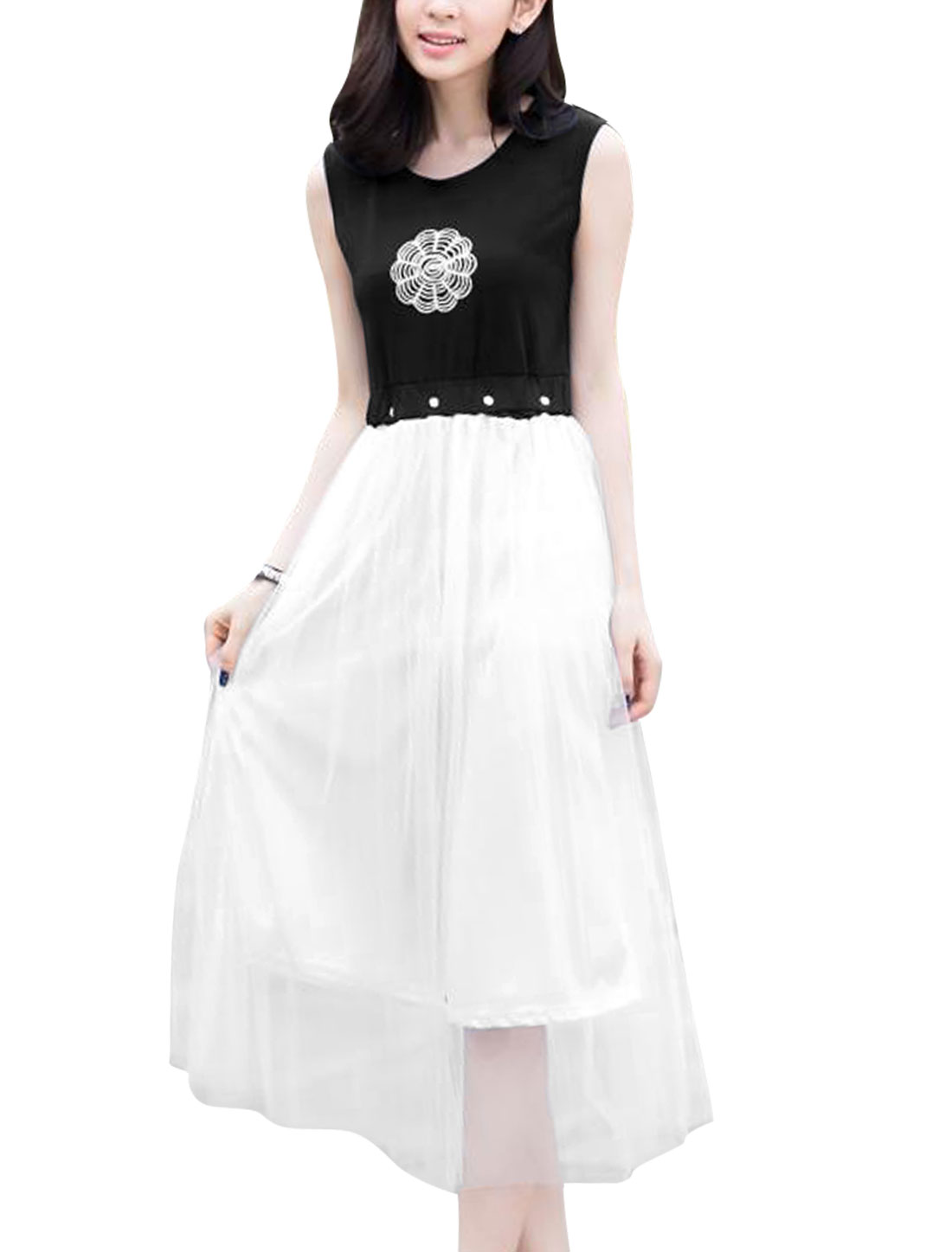 Lady Round Neck Embroidered Design Mesh Panel A-Line Dress Black White XS
