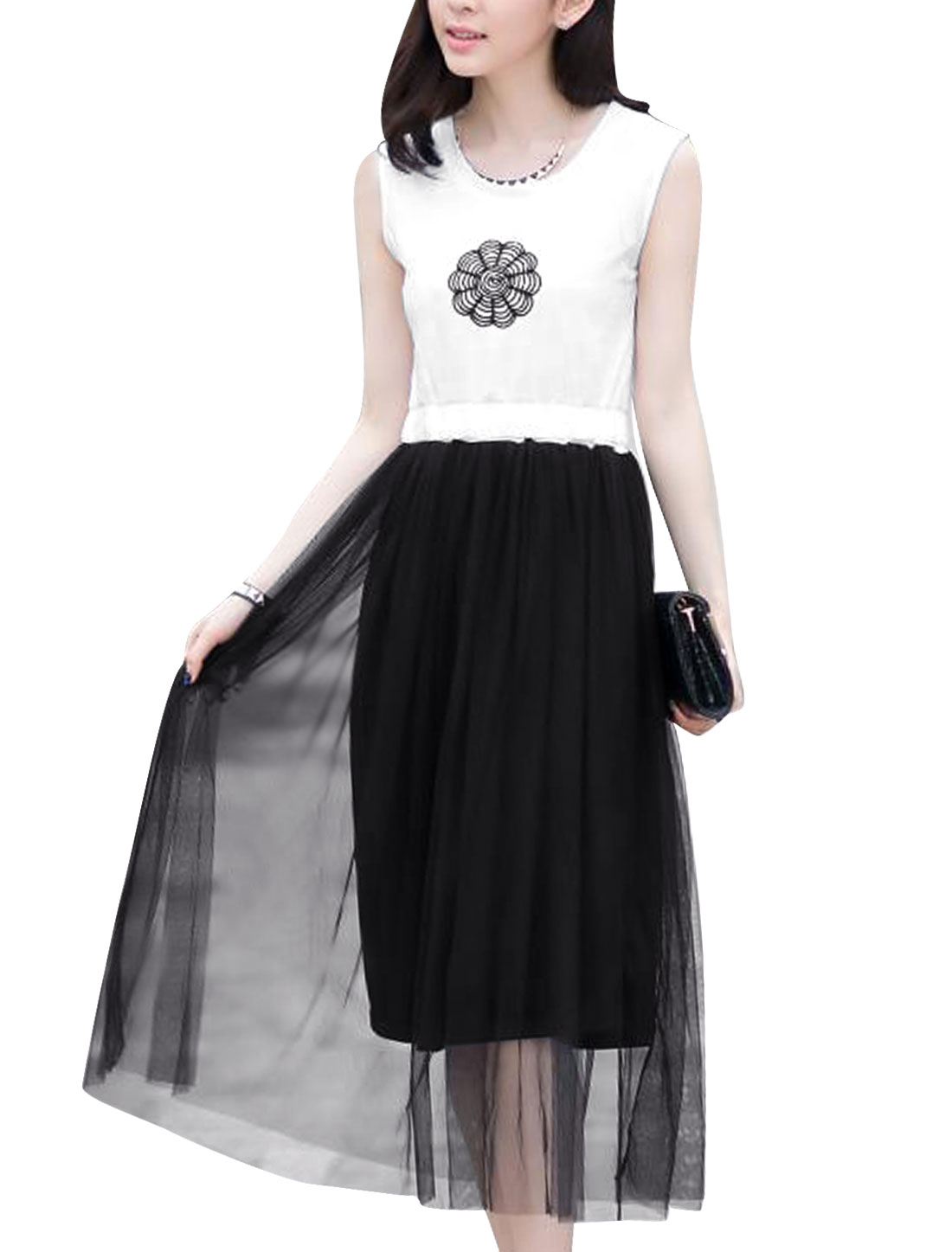 Lady Sleeveless Embroidered Design Mesh Panel A-Line Dress White Black XS