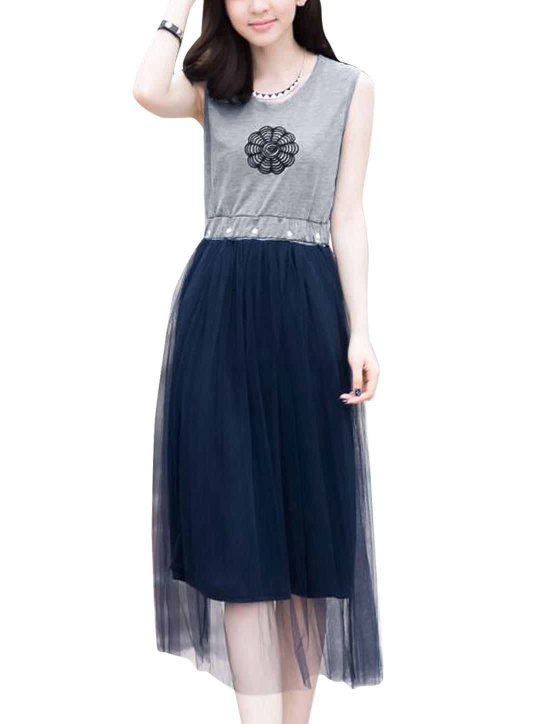 Lady Round Neck Embroidered Panel A-Line Dress Light Gray Navy Blue XS