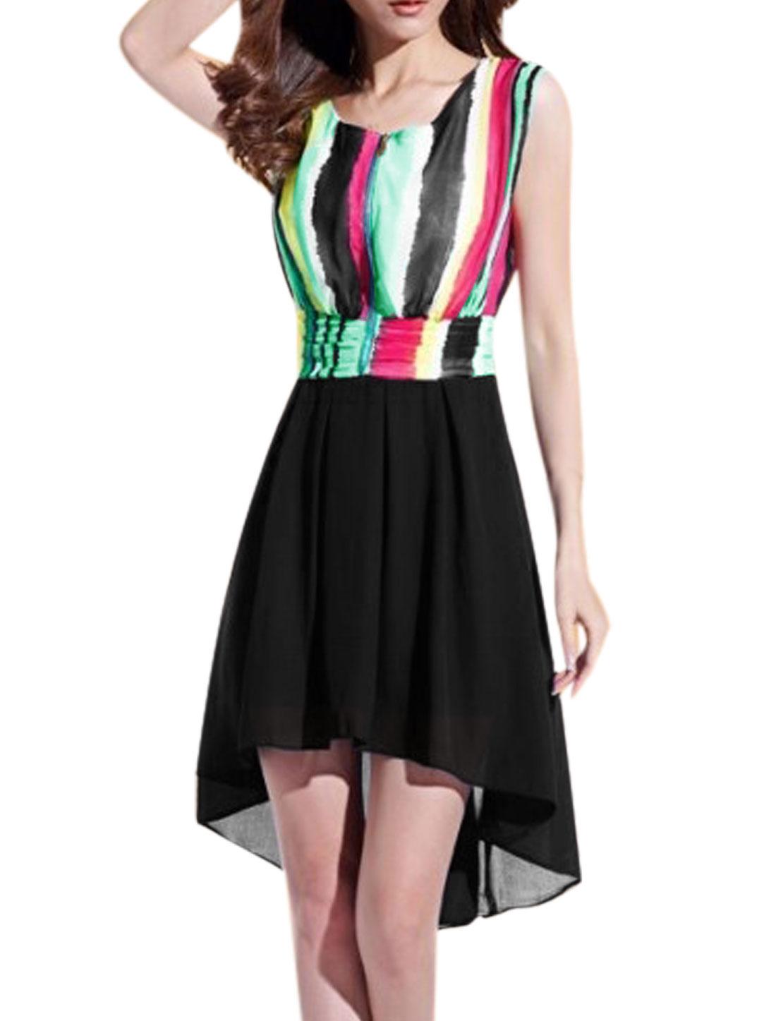 Ladies Vertical Stripes Hidden Zipper Low High Hem Blouson Dress Green Black M
