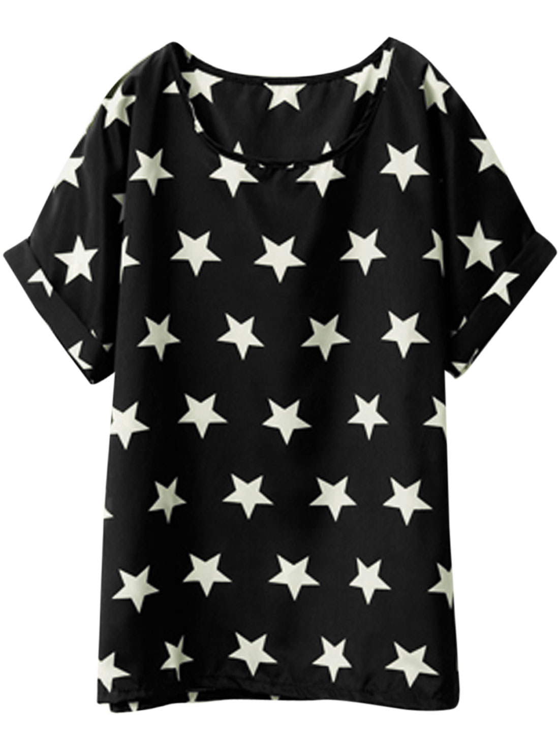 Lady Round Neck Short Batwing Sleeve Stars Pattern Tee Black XS