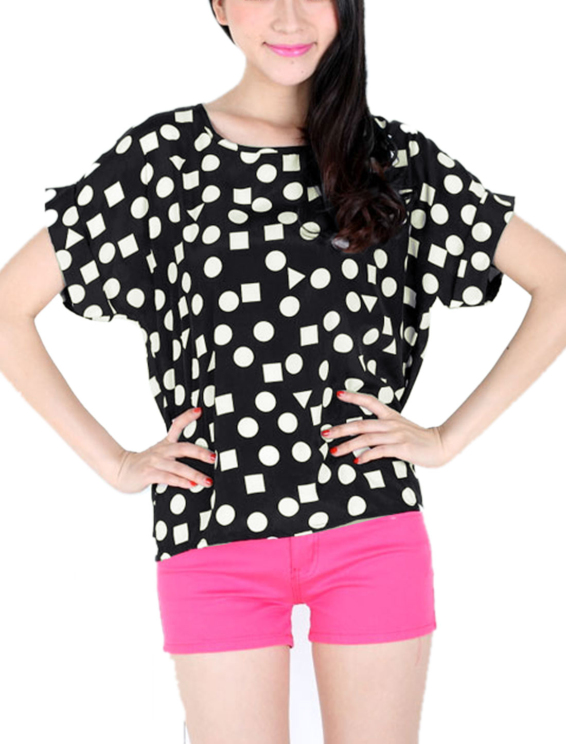 Lady Round Neck Short Batwing Sleeve Geometric Prints T-Shirt Black XS