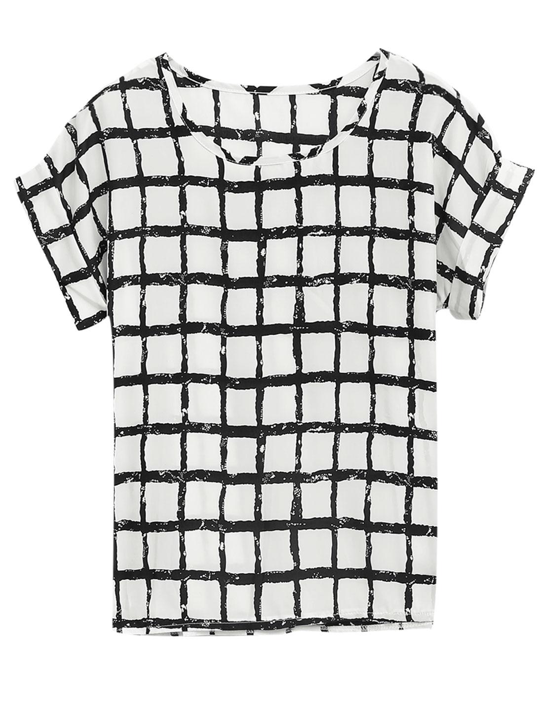 Lady Short Batwing Sleeve Plaids Pattern T-Shirt White XS