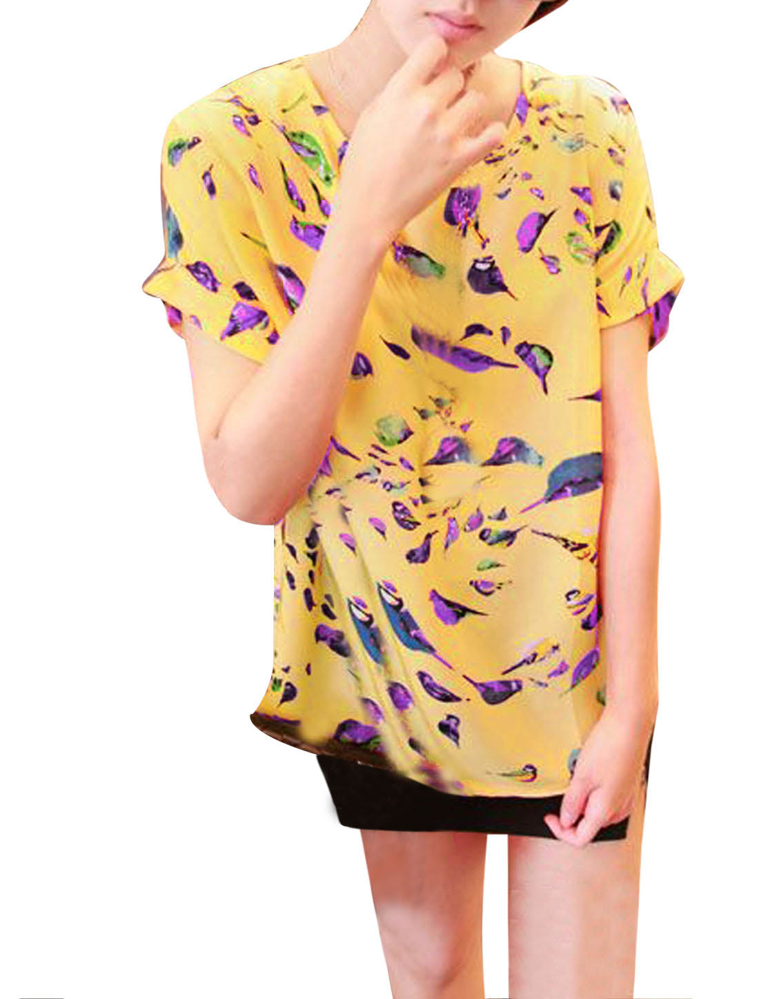 Lady Summer Short Batwing Sleeve Birds Pattern Tee Yellow XS
