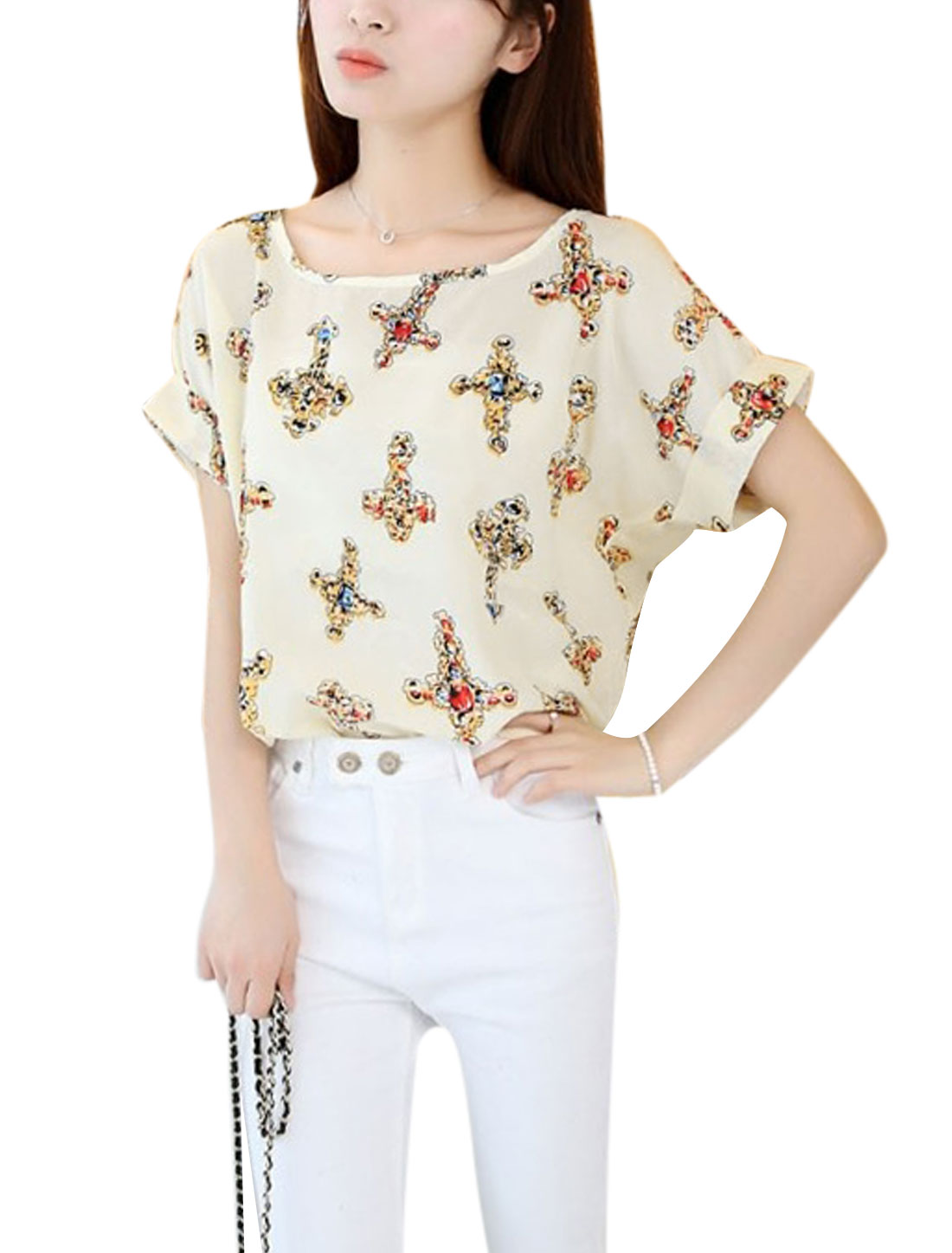 Lady Soft Short Batwing Sleeve Cross Pattern T-Shirt Beige XS