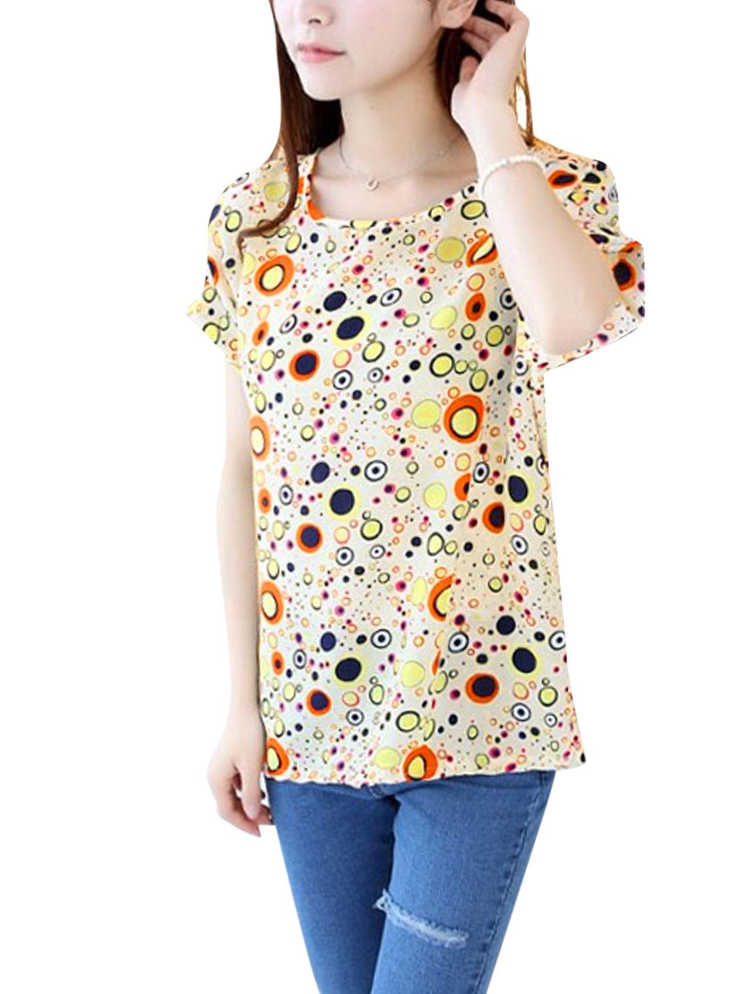 Lady Soft U Neck Batwing Sleeve Dots Prints T-Shirt Yellow XS