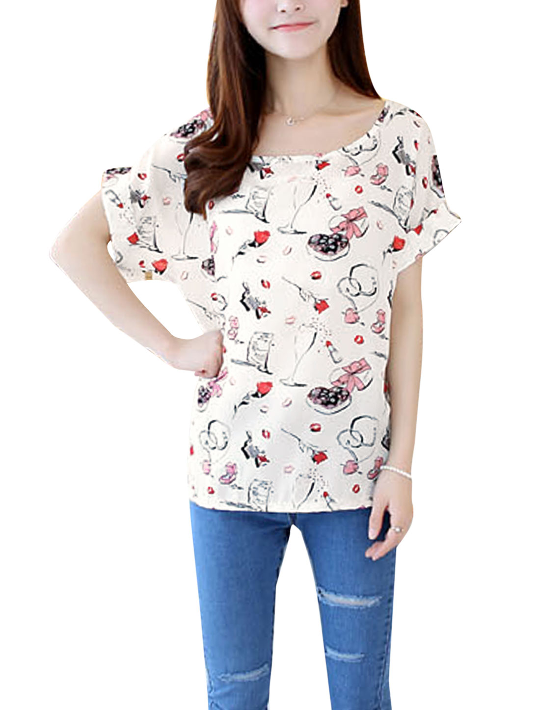 Lady Round Neck Short Batwing Sleeve Lips Prints T-Shirt Off White XS