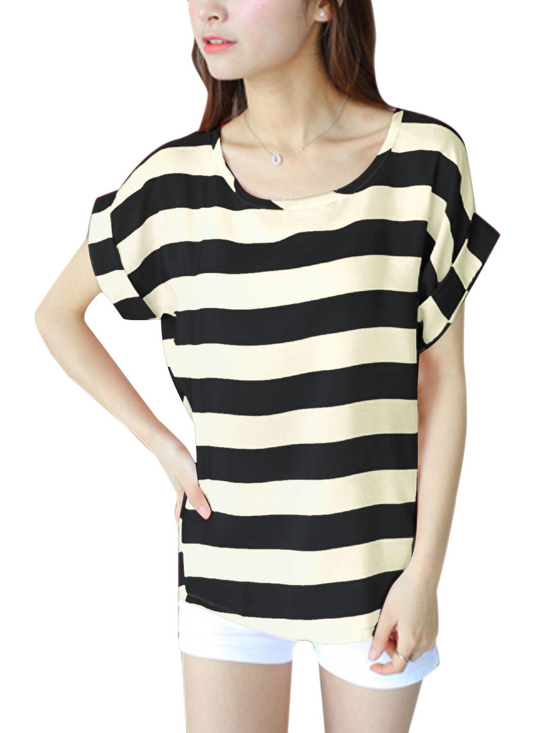 Lady U Neck Short Batwing Sleeve Stripes T-Shirt Black XS
