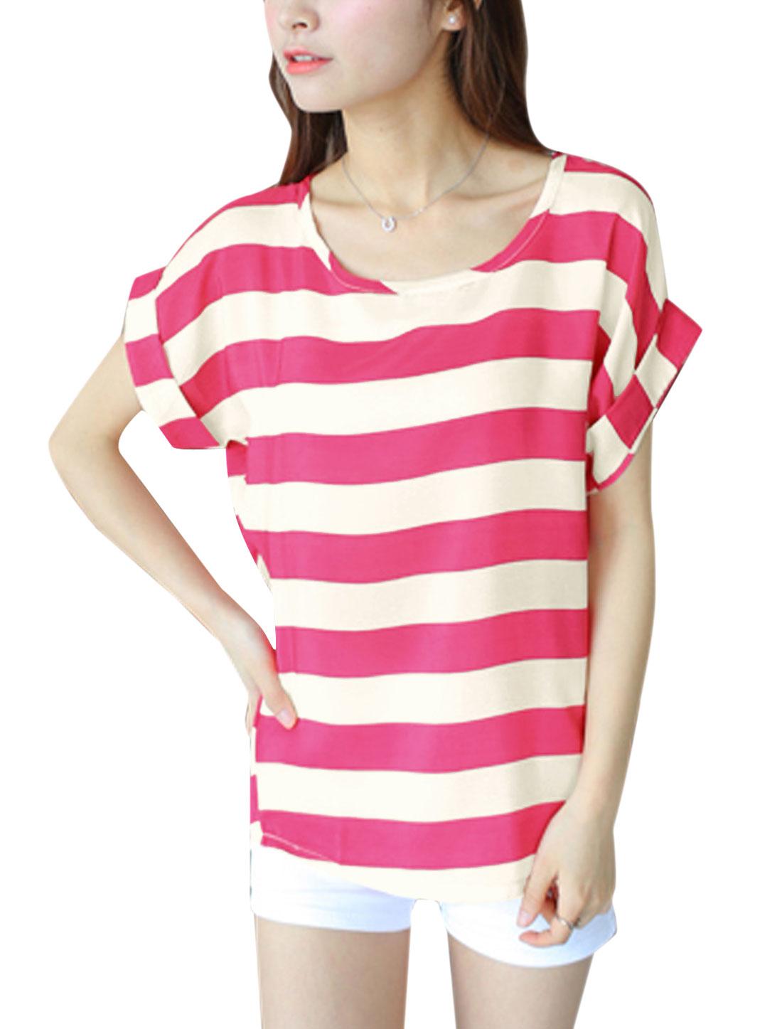 Lady Summer Short Batwing Sleeve Stripes T-Shirt Fuchsia XS