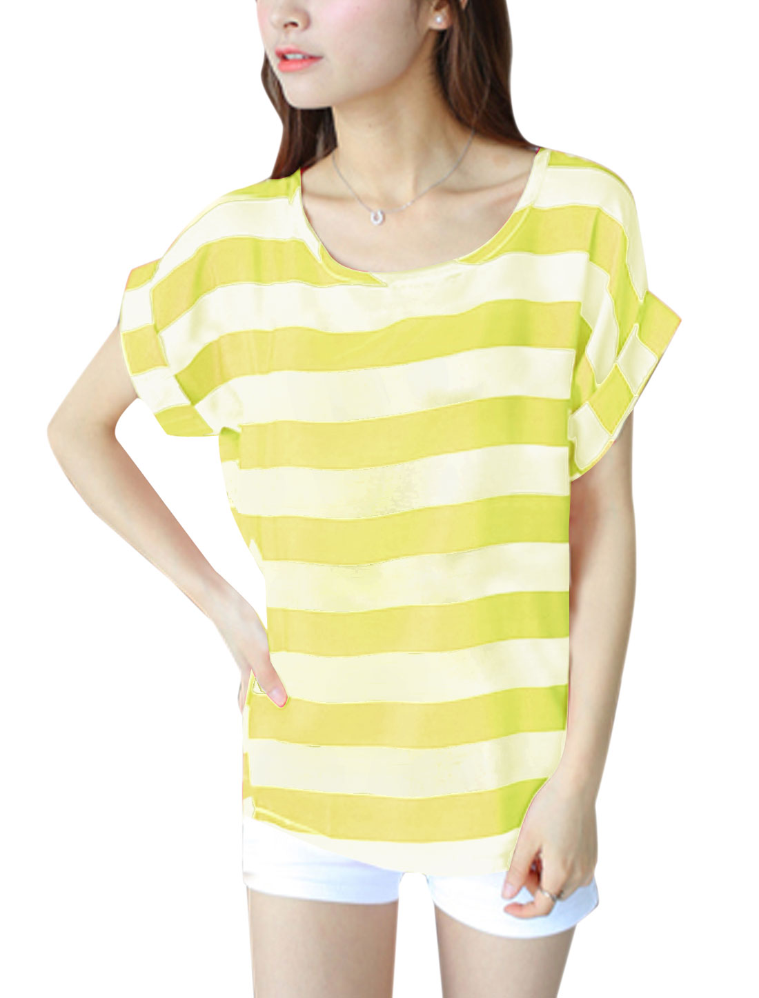 Lady U Neck Stripes T-Shirt Fluorescent Yellow XS