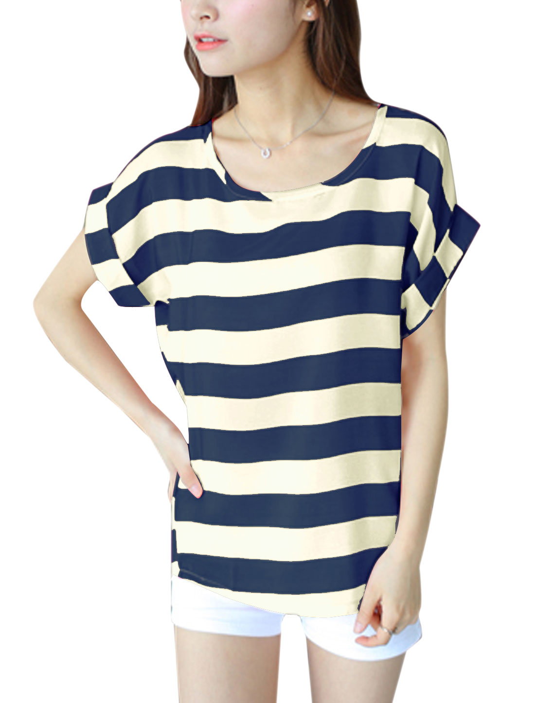Lady U Neck Short Batwing Sleeve Stripes Pattern Tee Navy Blue XS