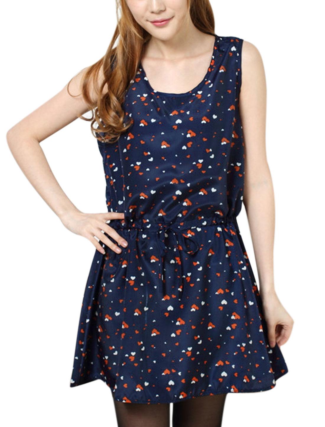 Women Sleeveless Hearts Pattern Drawstring Sweet Tank Dress Navy Blue XS