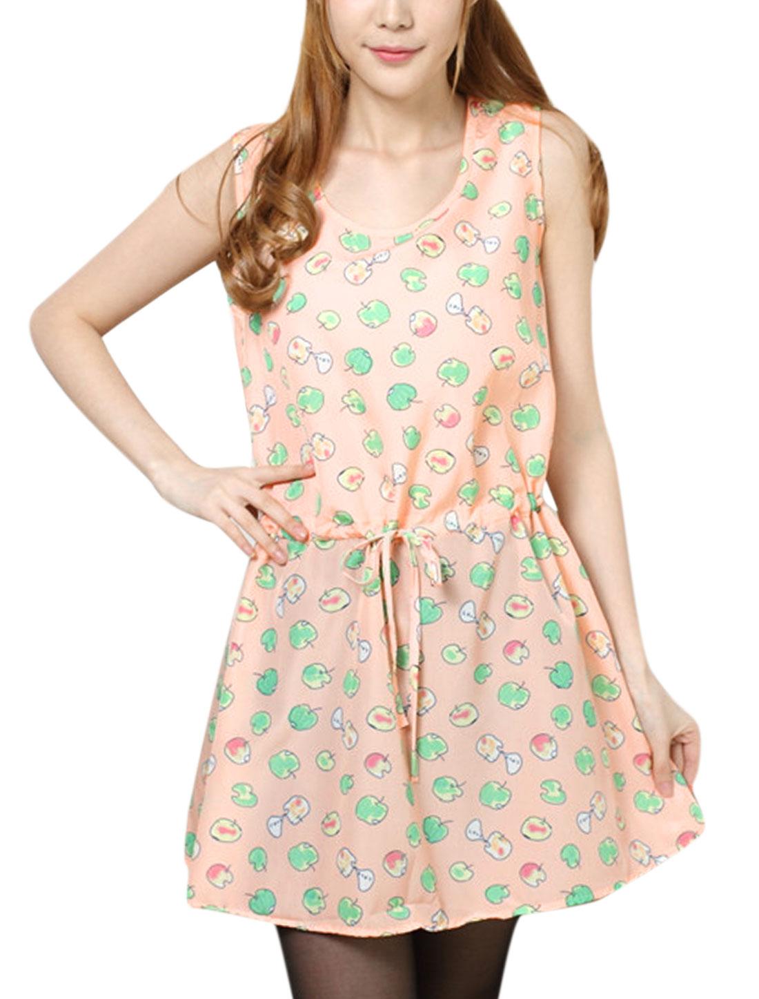 Ladies Apple Pattern Drawstring Design Sweet Tank Dress Light Salmon XS