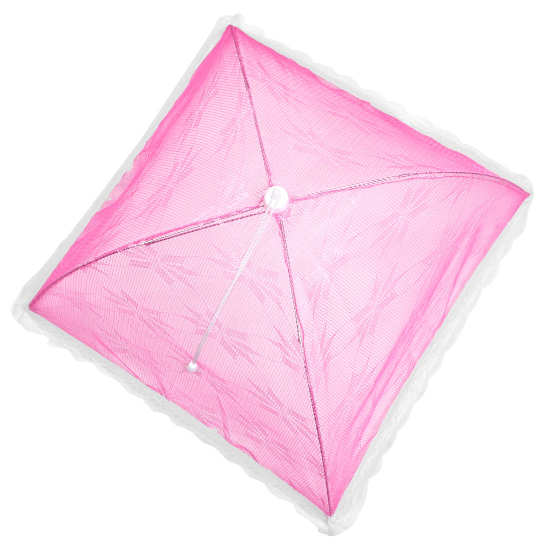 52cm x 52cm Camping Picnic Lace Decor Folding Umbrella Food Cover Pink