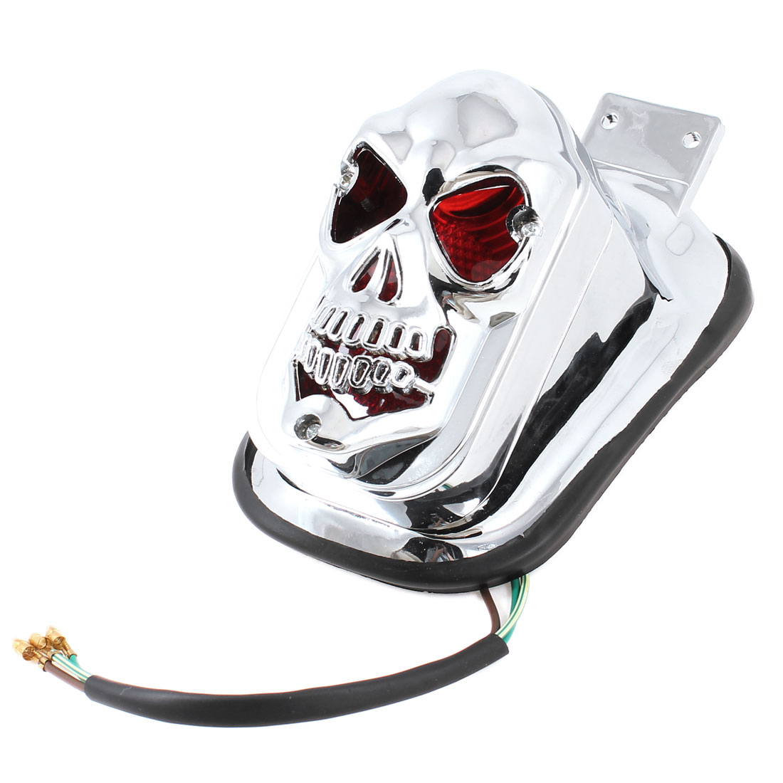 12V Silver Tone Shell Skull Head Shape Decoration Red Light for Car Auto