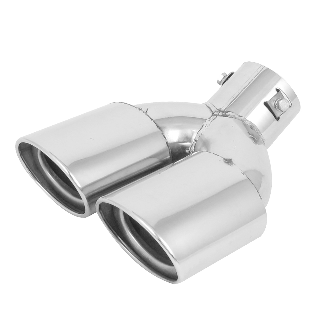 60mm Inlet Dia Double Outlet Siler Tone Stainless Steel Car Exhaust Muffler Pipe Tail Tip
