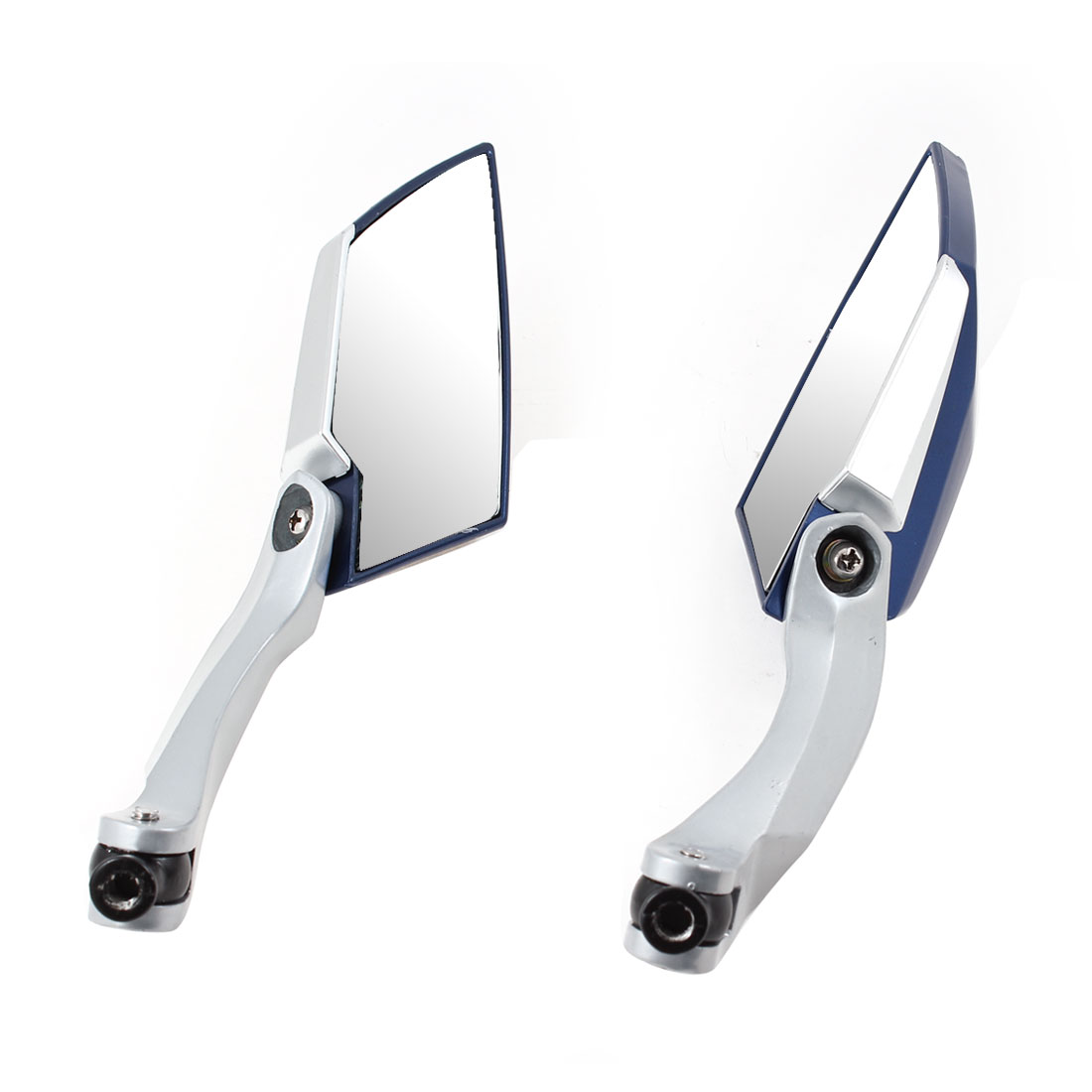 2 Pcs Blue Silver Tone Adjustable 360 Degree Wide Angle Blind Spot Rearview Mirror for Motorcycle
