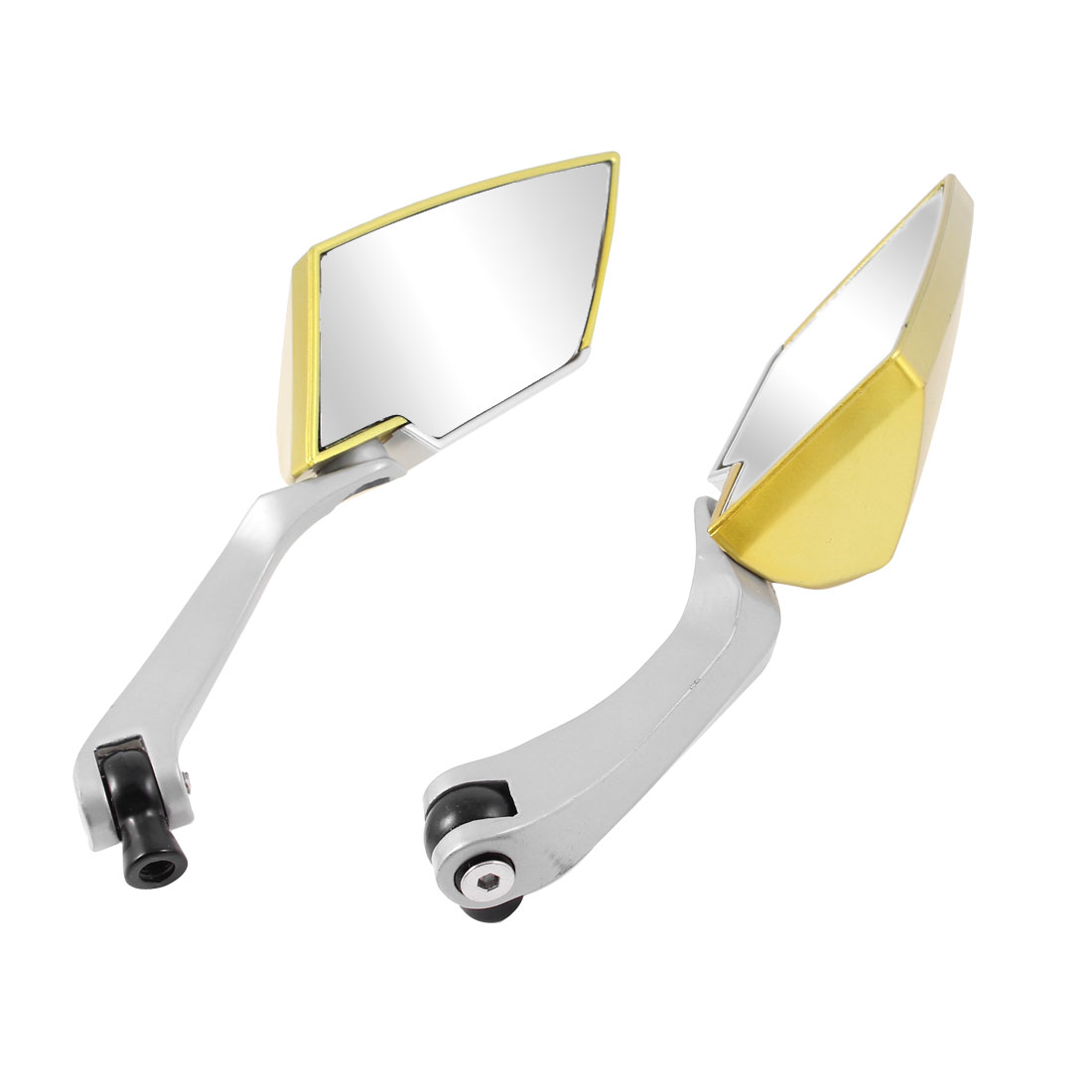 2 Pcs Silver Gold Tone Metal Shell Motorcycle Side Rear View Blind Spot Mirror