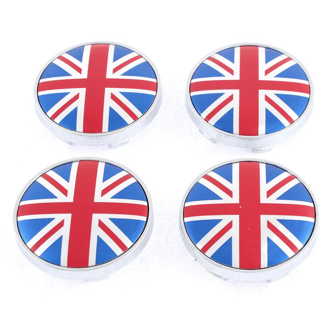 4 Pcs 60mm Outside Diameter UK Flag Pattern Plastic Wheel Center Hub Cap Cover Protector