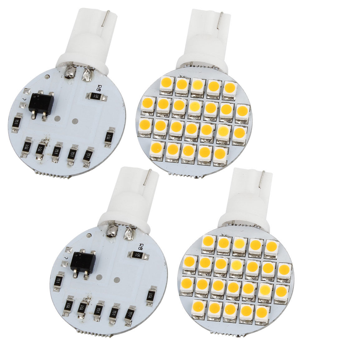 4 Pcs Auto Car T10 Warm White 1210 SMD 24 LED Light Side Lamp Bulbs Internal
