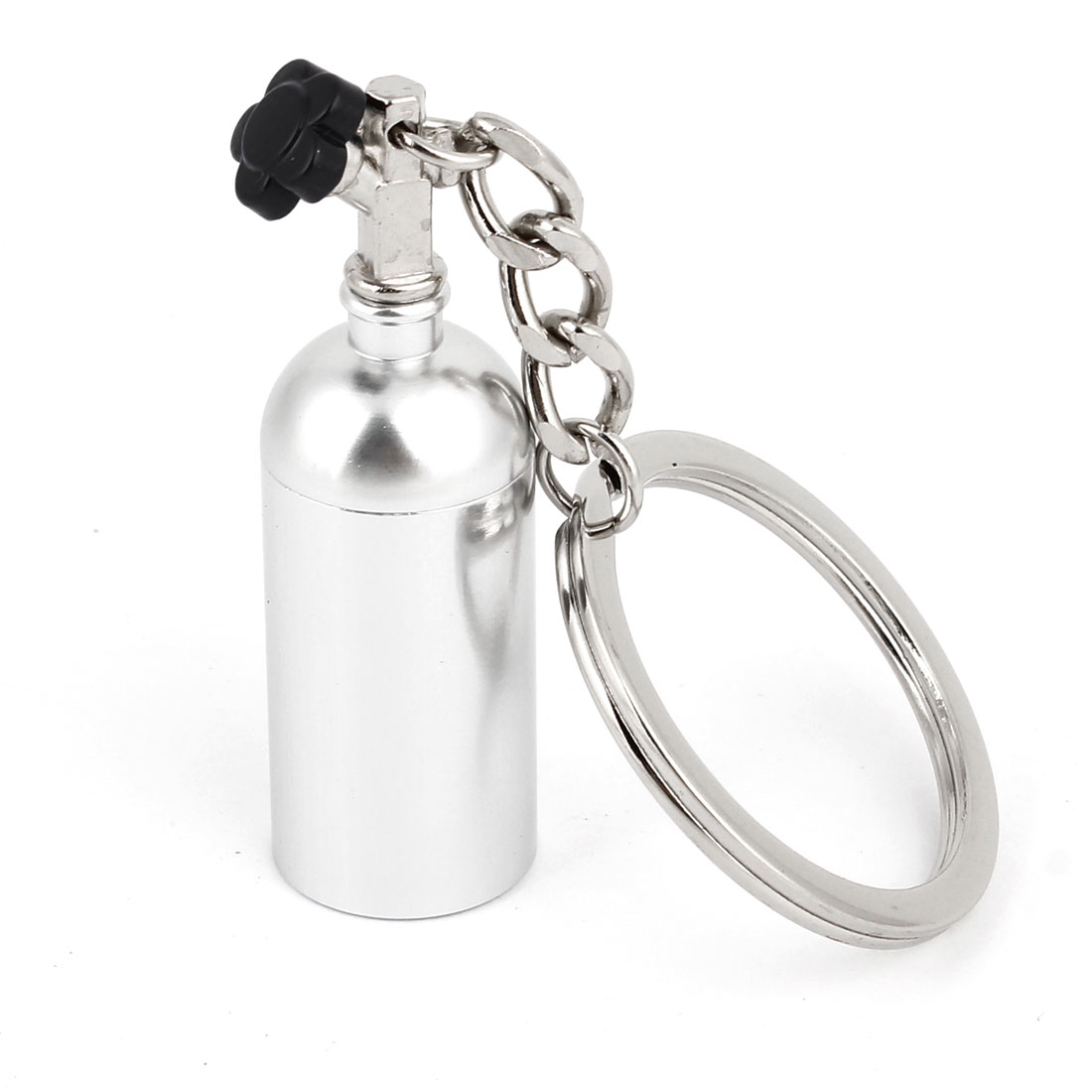 Silver Tone Metal Bottle Shape Pendant Split Ring Keychain Ornament