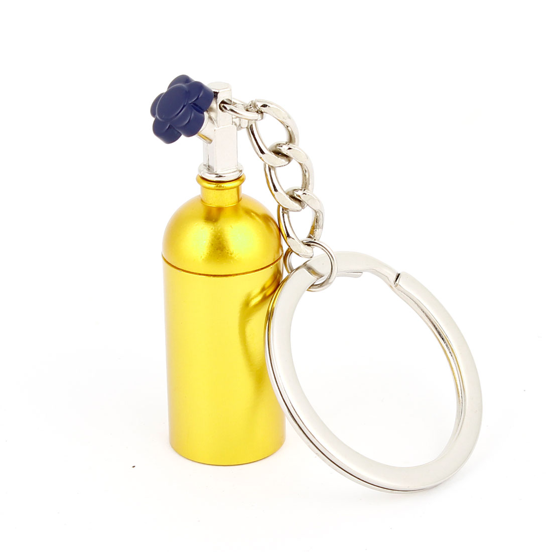 "1.2"" Split Keyring Gold Tone Metal Bottle Design Pendant Keychain Oranment"
