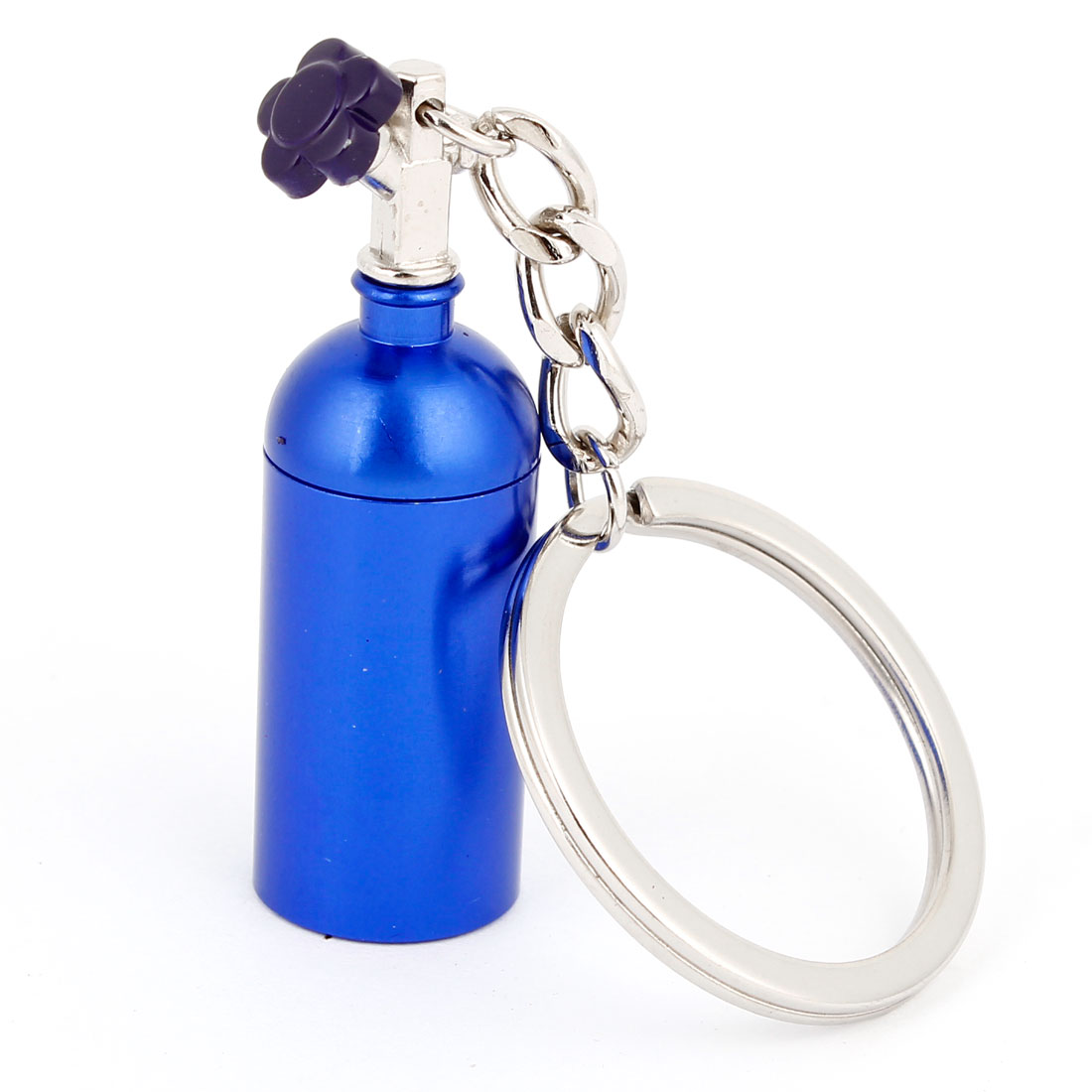 "Blue Metal Bottle Design Dangling 1.2"" Dia Split Ring Key Holder Keychain"