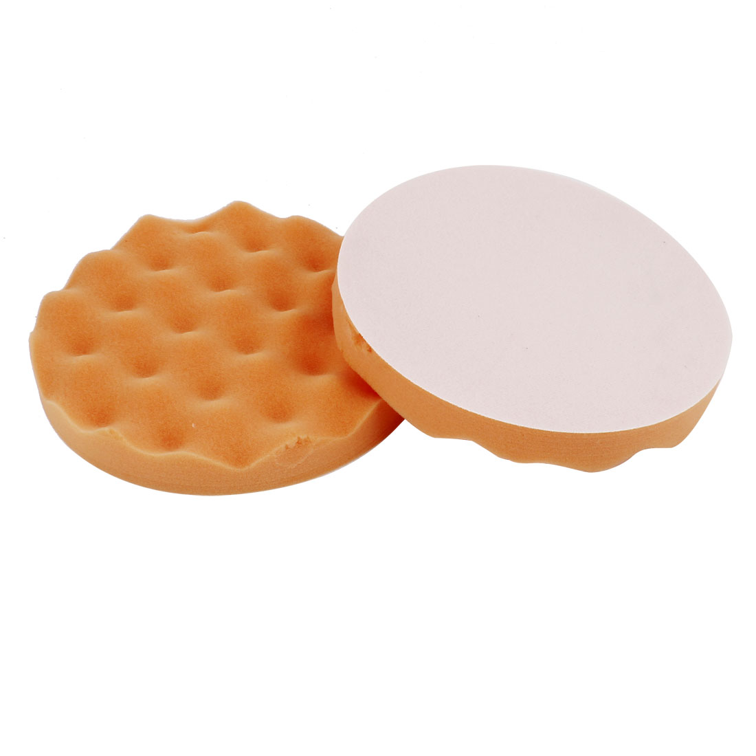 "2 Pcs Single Side Wave Cut 7"" Round Polishing Sponge Pad Tool Orange for Car"