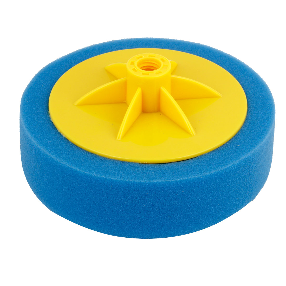 "Yellow Plastic 14mm Dia Connector Hole Blue Sponge Polishing Ball 6"" Dia for Auto"