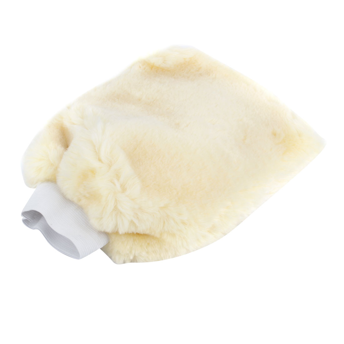 Beige Plush Springy Cuff Gloves Mitt for Car Cleaning Washing