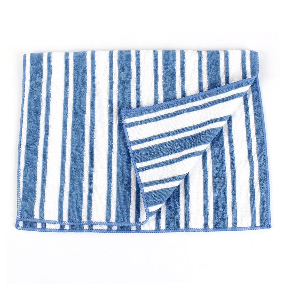 Vehicle Door Glass Blue White Stripe Pattern Retangle Wash Towel Cloth 60x42cm