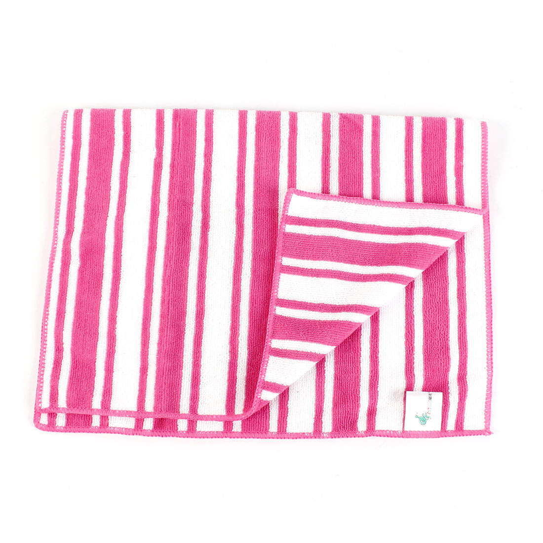60x42cm Red White Rectangle Microfiber Stripe Pattern Polishing Towel Cleaning Cloth for Car
