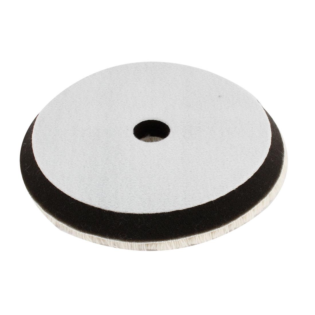 20mm Dia Hole 18cm Dia Round Faux Wool Sponge Car Polishing Wheel Black Beige