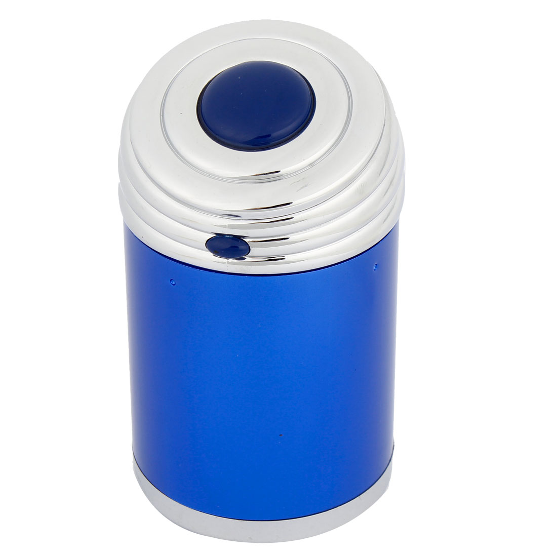 Car Interior Decor Cylinder Shaped Button Design Ashtray Ash Holder Blue 11cm Height