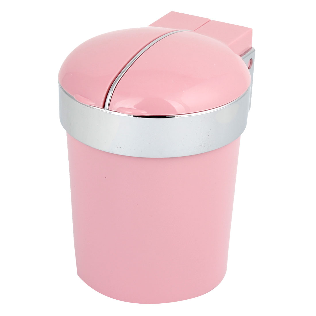 Vehicle Pink Plastic Shell Blue LED Light Cylinder Shaped Ash Tray Holder Case