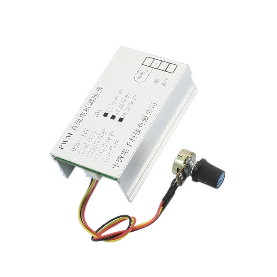 DC 6-12V 10A Adjustable Rotary B10K Potentiometer Knob PWM Motor Speed Controller Governor Regulator Module w Heat Sink