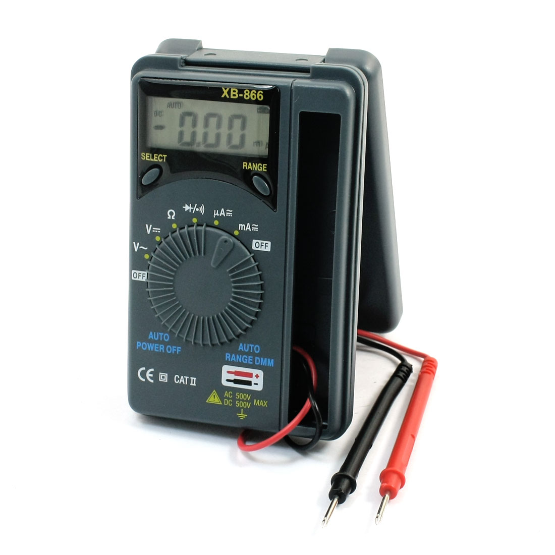 XB866 Power By 2xAAA Battery Portable Rectangle Gray Plastic AC DC Voltmeter Ammeter Ohmmeter Analog Multimeter w Test Probe Lead