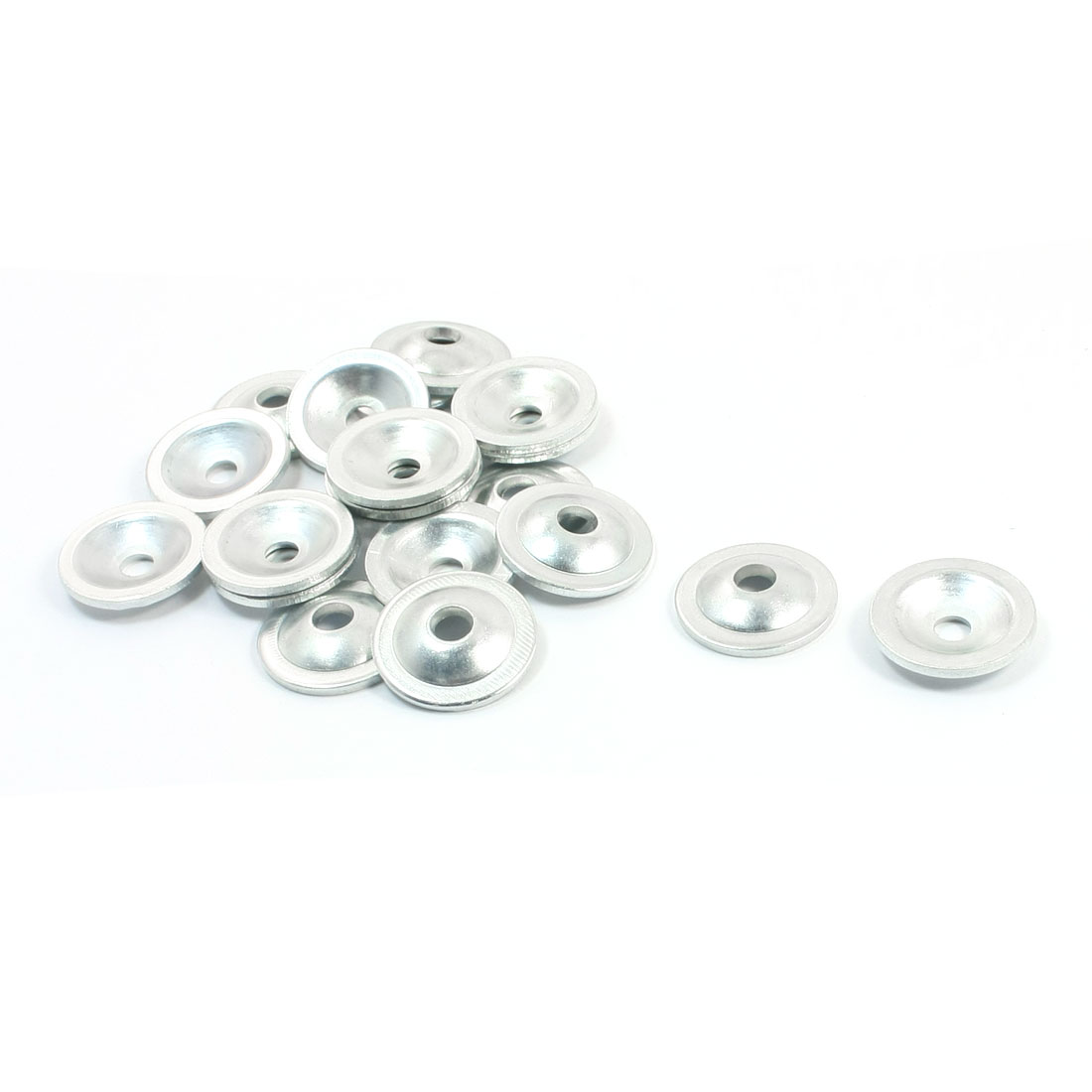Home Furniture 5.4mm Dia Hole Round Silver Tone Metal Screw Cup Finishing Countersunk Washer Spacer 20Pcs