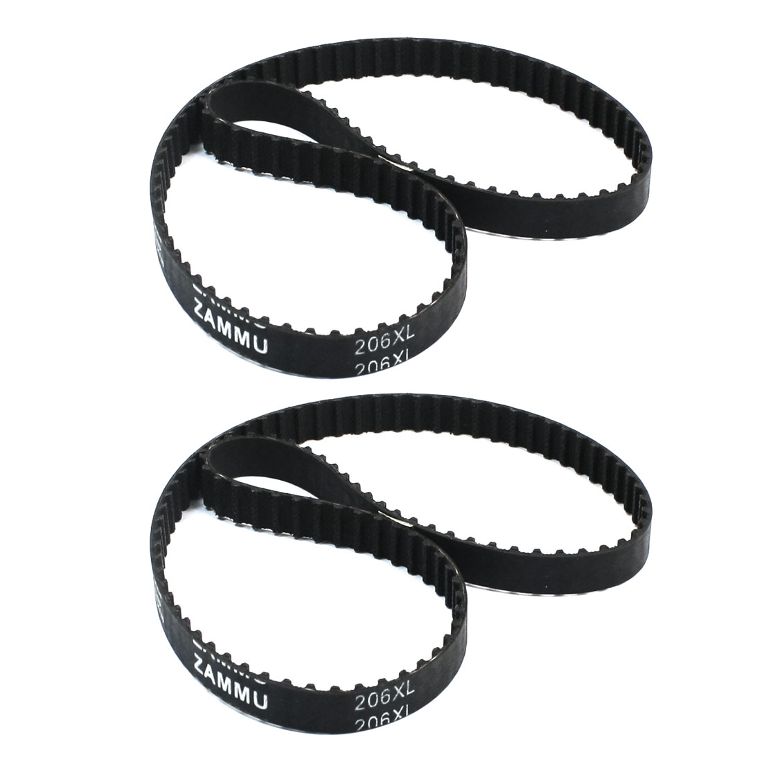 "206XL 103 Teeth 103T 10mm Width 5.08mm Pitch Single Side Black Rubber Cogged Industrial Timing Belt 20.6"" Girth 2Pcs"