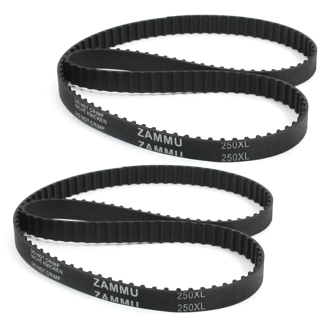 "250XL 25"" Girth 5.08mm Pitch 125-Teeth Black Rubber Industrial Synchro Machine Synchronous Timing Belt 2Pcs"
