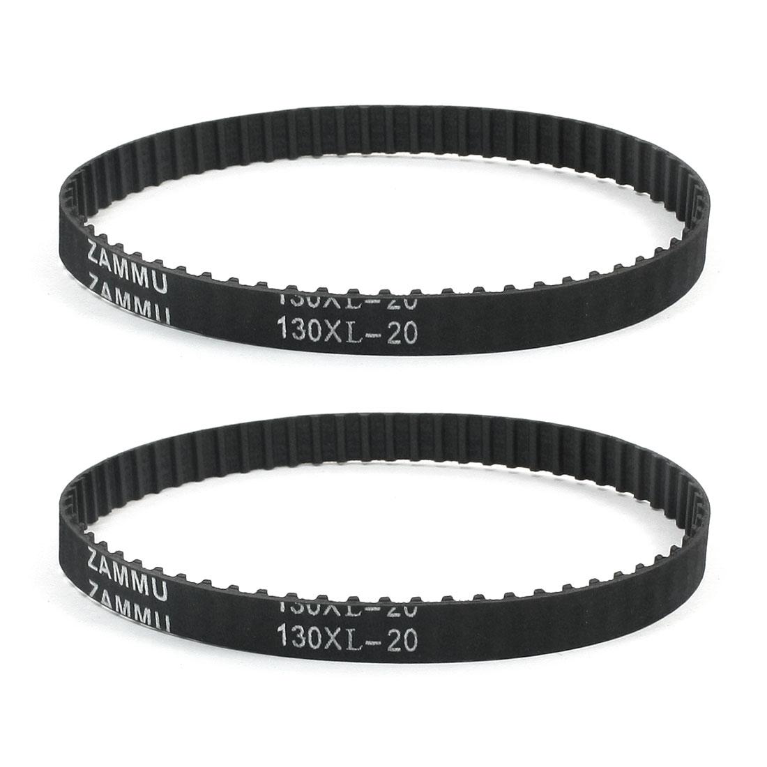 "130XL 13"" Girth 5.08mm Pitch 65-Teeth Black Rubber Industrial Synchro Machine Synchronous Timing Belt 2Pcs"
