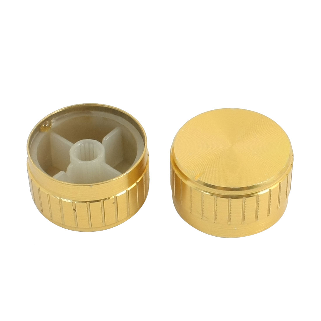 2pcs Gold Tone Plastic Potentiometer Stereo Audio Volume Regulator Cover Cap Head Knobs 30x17mm